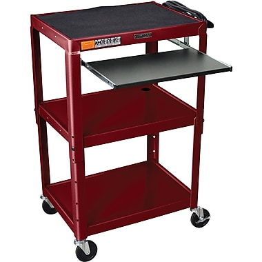 Luxor® Steel Adjustable Height AV Cart W/Pullout Keyboard Tray, Burgundy