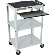 Luxor® Steel Adjustable Height AV Cart W/Pullout Keyboard Tray, Light Gray