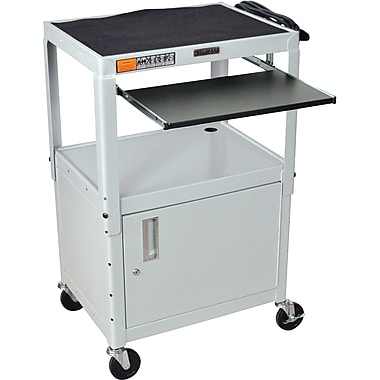 Luxor® Steel Adjustable Height AV Cart W/Cabinet & Pullout Keyboard Tray, Light Gray