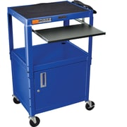Luxor® Steel Adjustable Height AV Cart W/Cabinet & Pullout Keyboard Tray, Royal Blue