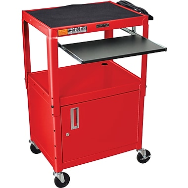 Luxor® Steel Adjustable Height AV Cart W/Cabinet & Pullout Keyboard Tray, Red