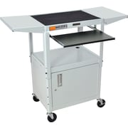 Luxor® Steel Adjustable Height AV Cart W/Pullout, Cabinet, Drop Leaf Shelves, Light Gray