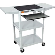 Luxor® Steel Adjustable Height AV Cart W/Keyboard & Drop Leaf Shelves, Light Gray