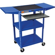 Luxor® Steel Adjustable Height AV Cart W/Keyboard & Drop Leaf Shelves, Royal Blue