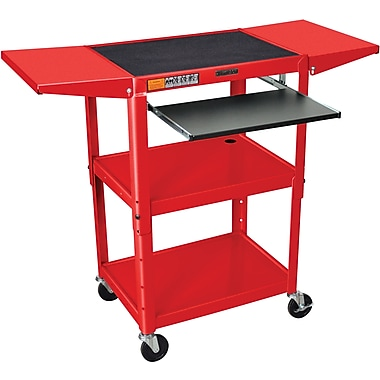 Luxor® Steel Adjustable Height AV Cart W/Keyboard & Drop Leaf Shelves, Red