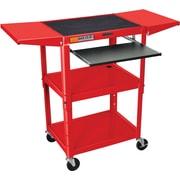 Luxor® Steel Adjustable Height AV Cart W/Keyboard & Drop Leaf Shelves, Red