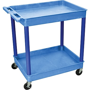 Luxor® TC Series 37 1/4in.(H) 2 Shelves Large Tub Cart, Blue
