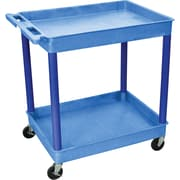 "Luxor® TC Series 37 1/4""(H) 2 Shelves Large Tub Cart, Blue"