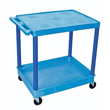 Luxor® TC Series 35 3/4in.(H) 2 Shelves Large Flat Top & Tub Bottom Shelf Cart, Blue