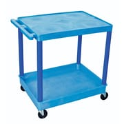 "Luxor® TC Series 35 3/4""(H) 2 Shelves Large Flat Top & Tub Bottom Shelf Cart, Blue"