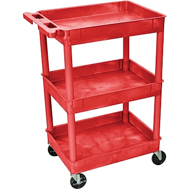 Luxor® STC Series 36 1/2in.(H) 3 Shelves Tub Cart, Red