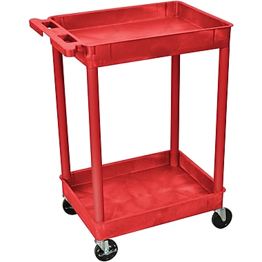 Luxor® STC Series 37 1/2in.(H) 2 Shelves Tub Cart, Red