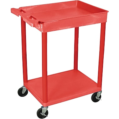 Luxor® STC Series 35 3/4in.(H) 2 Shelves Top Tub & Bottom Flat Shelf Cart, Red