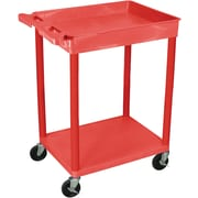 Luxor® STC Series 35 3/4(H) 2 Shelves Top Tub & Bottom Flat Shelf Cart, Red