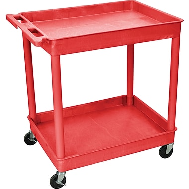 Luxor® TC Series 37 1/4in.(H) 2 Shelves Large Tub Cart, Red