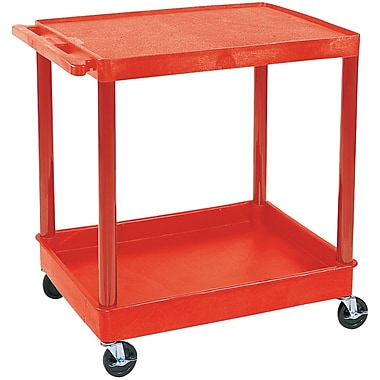 Luxor® TC Series 35 3/4in.(H) 2 Shelves Large Flat Top & Tub Bottom Shelf Cart, Red