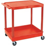 "Luxor® TC Series 35 3/4""(H) 2 Shelves Large Flat Top & Tub Bottom Shelf Cart, Red"