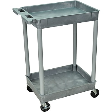 Luxor® STC Series 37 1/2in.(H) 2 Shelves Tub Cart, Gray