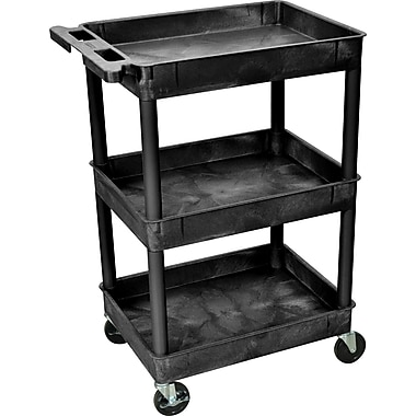 Luxor® STC Series 36 1/2in.(H) 3 Shelves Tub Cart, Black