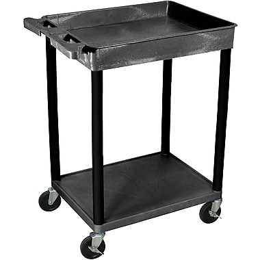 Luxor® STC Series 35 3/4in.(H) 2 Shelves Top Tub & Bottom Flat Shelf Cart, Black