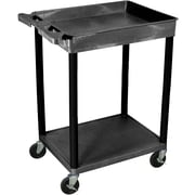 "Luxor® STC Series 35 3/4""(H) 2 Shelves Top Tub & Bottom Flat Shelf Cart, Black"