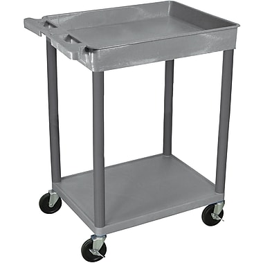 Luxor® STC Series 35 3/4in.(H) 2 Shelves Top Tub & Bottom Flat Shelf Cart, Gray