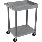 "Luxor® STC Series 35 3/4""(H) 2 Shelves Top Tub & Bottom Flat Shelf Cart, Gray"