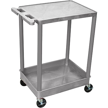 Luxor® STC Series 2 Shelves Flat Top & Tub Bottom Shelf Cart, Gray