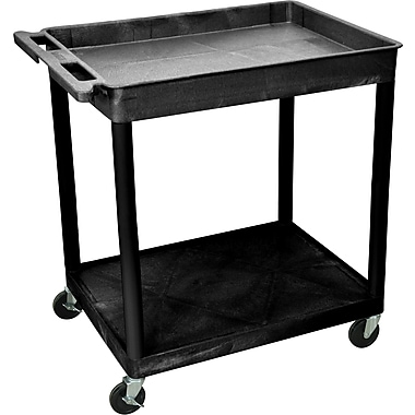 Luxor® TC Series 35 3/4in.(H) 2 Shelves Large Top Tub & Flat Bottom Shelf Cart, Black