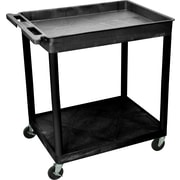 "Luxor® TC Series 35 3/4""(H) 2 Shelves Large Top Tub & Flat Bottom Shelf Cart, Black"