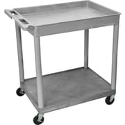 Luxor® TC Series 35 3/4(H) 2 Shelves Large Top Tub & Flat Bottom Shelf Cart, Gray