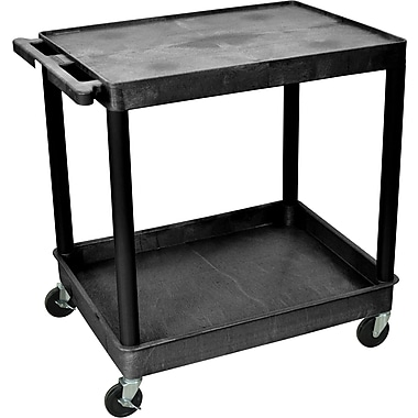 Luxor® TC Series 35 3/4in.(H) 2 Shelves Large Flat Top & Tub Bottom Shelf Cart, Black