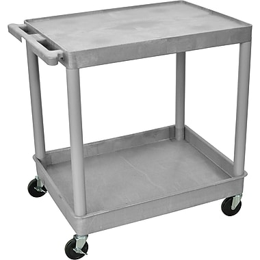 Luxor® TC Series 35 3/4in.(H) 2 Shelves Large Flat Top & Tub Bottom Shelf Cart, Gray