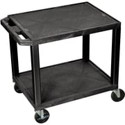 "H Wilson® 26""(H) 2 Shelves Tuffy AV Carts, Black"