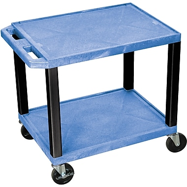 H Wilson® 26in.(H) 2 Shelves Tuffy AV Carts W/Electrical Attachment, Blue