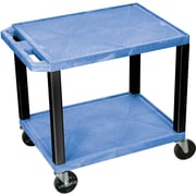 "H Wilson® 26""(H) 2 Shelves Tuffy AV Carts W/Electrical Attachment, Blue"