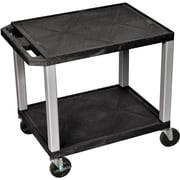 H Wilson® 2 Shelves Tuffy AV Cart W/Nickel Legs & Electrical Attachment, Black