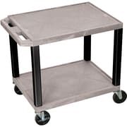 "H Wilson® 26""(H) 2 Shelves Tuffy AV Carts, Gray"