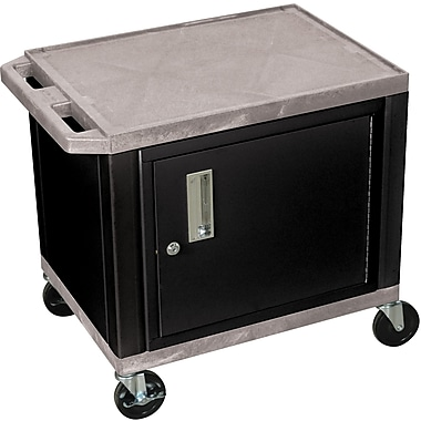 H Wilson® 26in.(H) 2 Shelves Tuffy AV Carts W/Black Cabinet, Gray