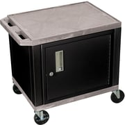 "H Wilson® 26""(H) 2 Shelves Tuffy AV Carts W/Black Cabinet, Gray"
