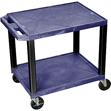 H Wilson® 26in.(H) 2 Shelves Tuffy AV Carts W/Electrical Attachment, Navy