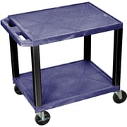 "H Wilson® 26""(H) 2 Shelves Tuffy AV Carts W/Electrical Attachment, Navy"
