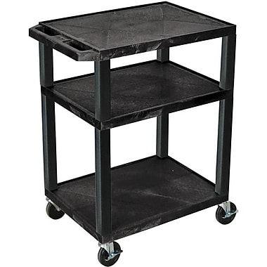 H Wilson® 34in.(H) 3 Shelves Tuffy AV Carts, Black