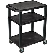 "H Wilson® 34""(H) 3 Shelves Tuffy AV Carts, Black"