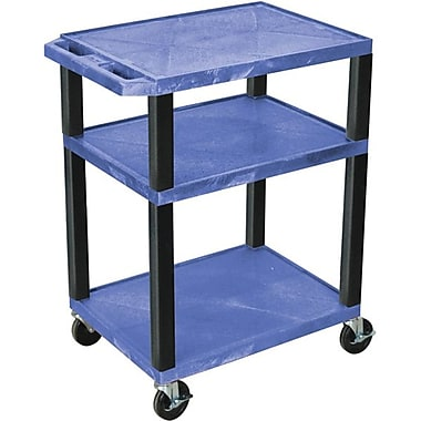 H Wilson® 34in.(H) 3 Shelves Tuffy AV Carts, Blue