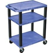 "H Wilson® 34""(H) 3 Shelves Tuffy AV Carts, Blue"