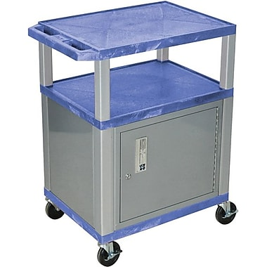 H Wilson® 34in.(H) 3 Shelves Tuffy AV Carts W/Nickel Legs & Cabinet, Blue