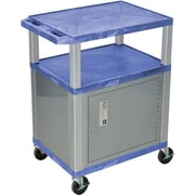"H Wilson® 34""(H) 3 Shelves Tuffy AV Carts W/Nickel Legs & Cabinet, Blue"
