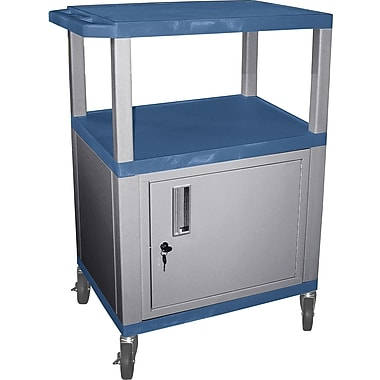 H Wilson® 34in.(H) 3 Shelves Tuffy AV Cart W/Nickel Legs, Cabinet & Electrical Attachment, Blue