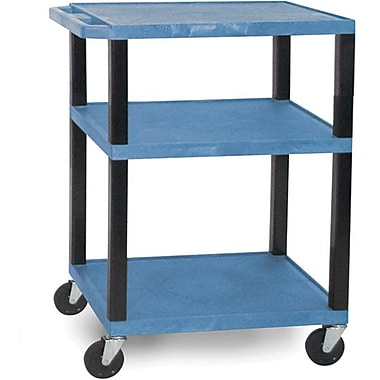 H Wilson® 3 Shelves Tuffy AV Cart W/Black Legs & Electrical Attachment, Blue